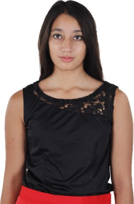 Mishe Designer Hub Casual Sleeveless Solid Women's Black Top