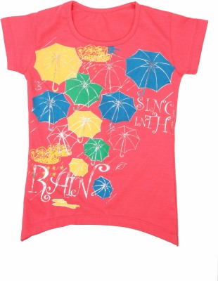 Earth Conscious Casual Short Sleeve Printed Girl's Pink Top