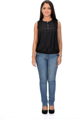 Instinct Casual, Festive Sleeveless Solid Women,s Black Top