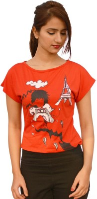StyleFlies Casual Short Sleeve Graphic Print Women's Red Top