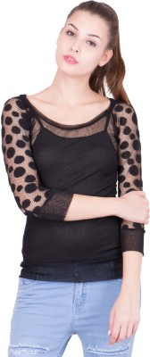 KAAF FASHION Party 3/4 Sleeve Solid Women's Black Top