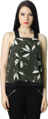StyleToss Casual Sleeveless Floral Print Women's Dark Green Top