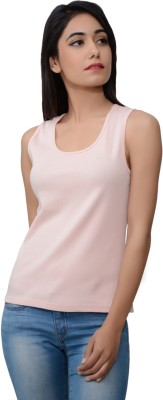 Lamora Casual Sleeveless Solid Women's Pink Top