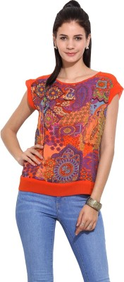 Trendy Divva Casual Cap sleeve Printed Women's Red Top