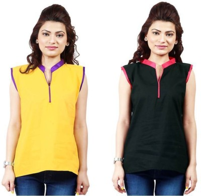 Ambitione Women,s, Girl's Solid Casual Yellow, Black Shirt