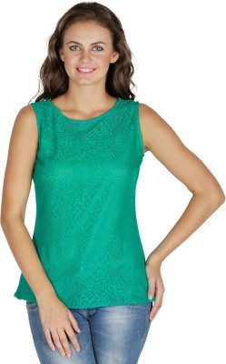 Mayra Party Sleeveless Solid Women's Green Top at flipkart