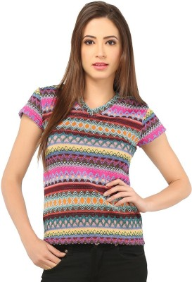 Pick Pocket Casual Short Sleeve Printed Women's Pink Top