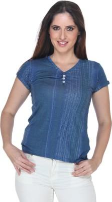 Fast n Fashion Casual Short Sleeve Geometric Print Women's Blue Top