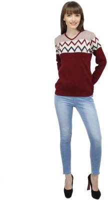 Camey Casual Full Sleeve Self Design Women's Red Top