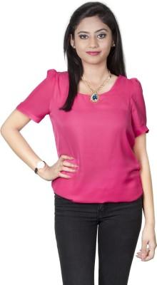 Dewberries Formal Short Sleeve Solid Women's Pink Top
