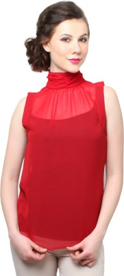 Moderno Party Sleeveless Solid Women's Maroon Top