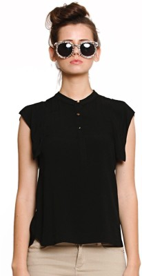 Zink London Casual Short Sleeve Solid Women's Black Top