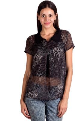 Ebry Casual Short Sleeve Printed Women's Black Top