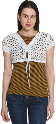 Sienna Casual Short Sleeve Printed Women's White, Yellow Top