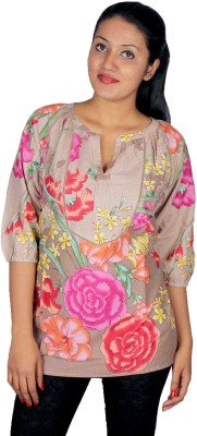 True Fashion Casual 3/4 Sleeve Floral Print Women's Multicolor Top