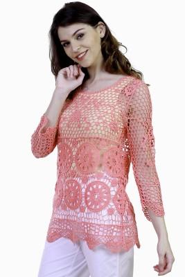 Caribbean Joe Beach Wear 3/4 Sleeve Self Design Women's Pink Top