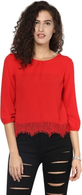 Harpa Casual 3/4th Sleeve Solid Women's Red Top at flipkart