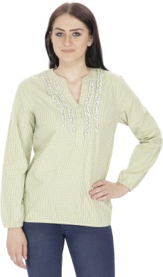 Needle9 Casual Full Sleeve Self Design Women's Green Top