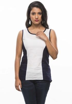 Moda Vastra Casual Sleeveless Solid Women's Blue, White Top