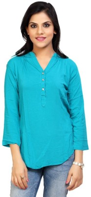 Carrel Casual 3/4 Sleeve Solid Women's Light Blue Top