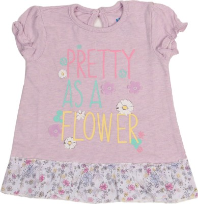 Kiddo Casual Short Sleeve Floral Print Girl's Purple Top
