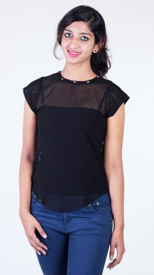 Aggana Casual Short Sleeve Solid Women's Black Top