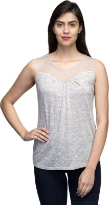 LY2 Casual Sleeveless Solid Women,s Grey Top