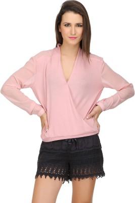 Ozel Studio Casual Full Sleeve Solid Women's Pink Top