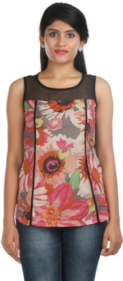 Zoe Fashions Formal Sleeveless Printed Women's Multicolor Top
