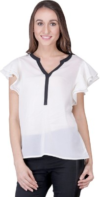 Shiks Vogue Casual Cape Sleeve Solid Women's White Top