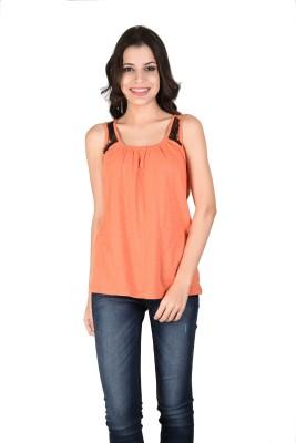 Latin Quarters Formal Sleeveless Solid Women,s Orange Top