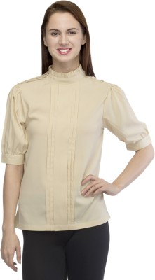Primo Knot Casual Short Sleeve Solid Women's Beige Top