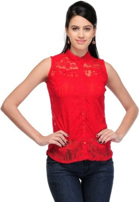 GSI Casual Sleeveless Solid Girl,s Red Top