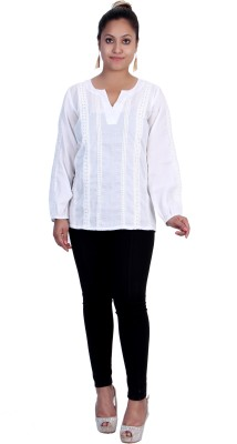 Rich Creations Casual, Party Full Sleeve Embroidered Women's White Top