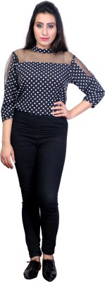 STYLE SOUK Casual 3/4 Sleeve Checkered Women's Black Top