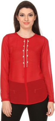 Oyshi Casual Full Sleeve Embellished Women's Red Top