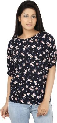 Oorja Casual Short Sleeve Floral Print Women's Dark Blue, Pink Top