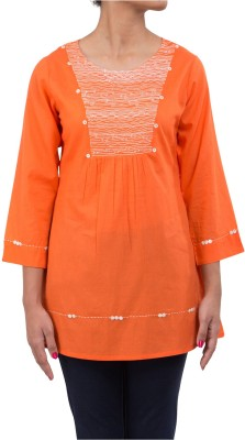 Ratan Jaipur Casual 3/4 Sleeve Embroidered Women's Orange Top