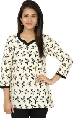 Modimania Casual, Festive, Formal, Party 3/4 Sleeve Printed Women's White, Black Top