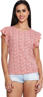 Panit Casual Short Sleeve Geometric Print Women,s Pink, Blue Top