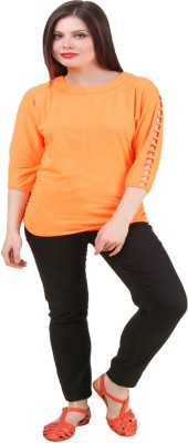 Komal Trading Co Wedding, Casual, Party 3/4 Sleeve Solid Women's Orange Top