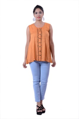 Megha Overseas Casual Sleeveless Printed Women's Orange Top