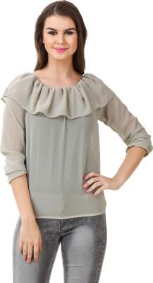 BrandMeUp Casual, Party, Formal, Beach Wear, Festive, Lounge Wear Full Sleeve Solid Women's Grey Top