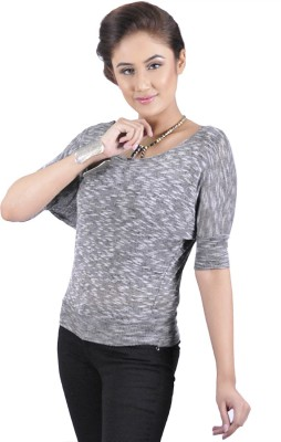 My Hollywood Shop Casual 3/4 Sleeve Solid Women's Grey Top