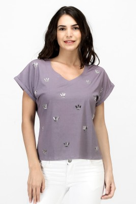 Satovira Party Short Sleeve Applique Women's Grey Top