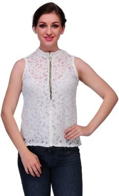 Samayra Casual Sleeveless Woven Women's White Top