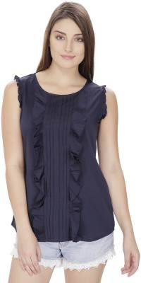 Pops N Pearls Casual Sleeveless Solid Women's Dark Blue Top
