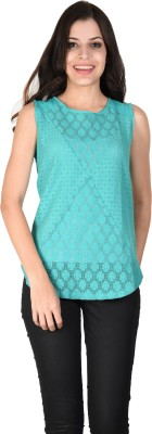 Latin Quarters Casual Sleeveless Solid Women,s Blue Top