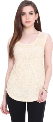 Global Colours Casual Sleeveless Embroidered Women's Beige Top