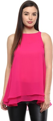 Pinwheel Casual Sleeveless Solid Women's Pink Top